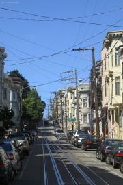 Kabel-Wirrwarr in der Jackson Street, San Francisco, CA