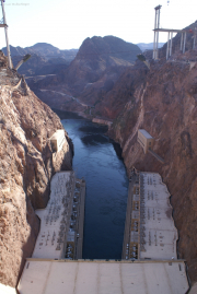 "Hoover Dam, Canyon des Colorado, Viadukt des ""Hoover Dam Bypass"" (U.S. 93) im Bau (Fertigstellung 10/2010), NV/AZ"