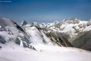 Abstieg vom Dom: Festigletscher, Matterhorn...